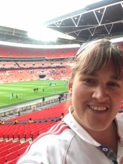 Claire our director at Wembley